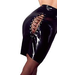 Недорогие -Женский Ультра-секси Ночное белье Однотонный-Средняя Лакированная кожа Черный