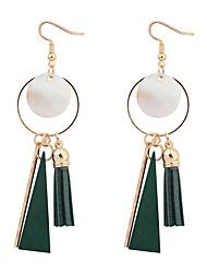 baratos -Mulheres Brincos Compridos / Brincos em Argola - Fashion / Europeu Preto / Vermelho / Verde Formato Circular Brincos Para Festa / Diário