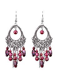economico -orecchini a forma di perline fatti a mano ovali lunghi retrò stile femminile classico