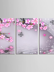 cheap -Animals Floral/Botanical Classic Pastoral, Three Panels Canvas Vertical Print Wall Decor Home Decoration