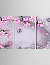 abordables -toile set Animal A fleurs/Botanique Classique Pastoral,Trois Panneaux Toile Verticale Imprimer Art Décoration murale For Décoration