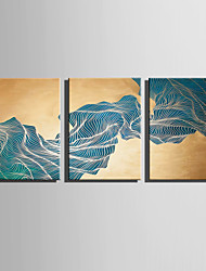 E-HOME Stretched Canvas Art Energy of Curve Decoration Painting Set Of 3