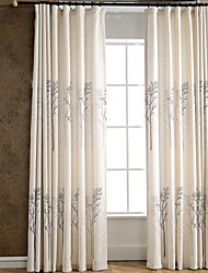 Rod Pocket Grommet Top Tab Top Double Pleated Pencil Pleated Two Panels Curtain Modern Neoclassical Mediterranean European Country Bedroom