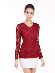 cheap -Women's Work Polyester T-shirt - Solid, Lace Cut Out V Neck