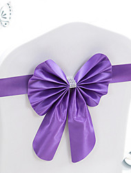 cheap -10Pcs Stretch Bowknots Chair Sashes For Wedding Chairs Back Decorations Elastic Bows For Hotel Chair Cover Decorative Bands