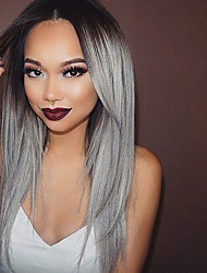 cheap -Heat Resistant Synthetic Lace Front Wigs Straight Hair Ombre T1B/Grey Color Synthetic Fiber Hair Wig