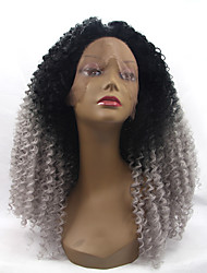 cheap -Synthetic Lace Front Wig Kinky Curly Natural Hairline Gray Women's Lace Front Natural Wigs Synthetic Hair
