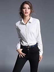 Women's Work Simple Summer Shirt,Striped Shirt Collar Long Sleeve White Black Polyester Thin