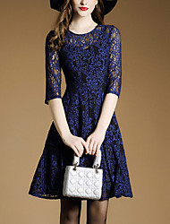 Women's Lace Going out Simple A Line Dress,Solid Lace Round Neck Above Knee ½ Length Sleeve Polyester Blue Spring Mid Rise Micro-elastic