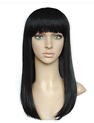 Women Wig Long Straight Wig Neat Bangs Natural Black Costume Wig Cosplay Wigs With Cap