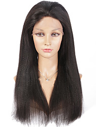 Long Yaki Straight Full Lace Human Hair Wigs Natural Color Lace Wigs With Baby Hair Natural Hairline Wigs