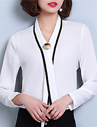Women's Casual/Daily Formal Work Street chic Spring Blouse,Solid V Neck Long Sleeve Polyester Medium