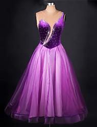 abordables -Debemos bailar los vestidos de danza mujeres chinlon organza splicing vestido