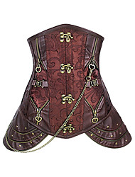 Burvogue Women's Retro Goth Brocade Steampunk Costuming Steel Bone Underbust Corset Waist Trainnning