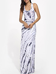 cheap -Women's Party / Holiday Boho Bodycon / Sheath Dress - Abstract Print Maxi U Neck