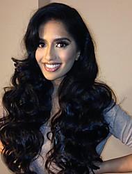 новый стиль натуральный черный цвет тела волна бесклеевой фронта шнурка виргинские человеческие волосы парик для черной женщины с оптовой