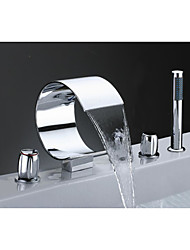 cheap -Bathtub Faucet - Waterfall Chrome Widespread Three Handles Five Holes