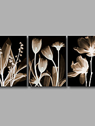 cheap -Stretched Canvas Print Three Panels Canvas Wall Decor Home Decoration Abstract Modern Flowers Black