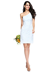 Sheath / Column One Shoulder Short / Mini Lace Bridesmaid Dress with Lace by LAN TING BRIDE®