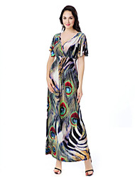 cheap -sweet curve Women's Plus Size Beach Boho Swing Dress Print Maxi V Neck
