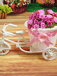 cheap -1Pcs  New Plastic White Tricycle Bike Design Flower Basket Container For Flower Plant Home Wedding Decoration