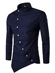 cheap -Men's Daily Casual Chinoiserie Spring Fall Shirt,Solid Stand Long Sleeves Cotton Polyester