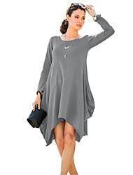 cheap -Women's Simple Loose Dress - Solid Colored Ruched Asymmetrical