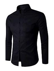 Masculino Camisa Social Para Noite Esportivo Simples Temática AsiáticaSólido Branco Preto Algodão Colarinho de Camisa Manga Longa