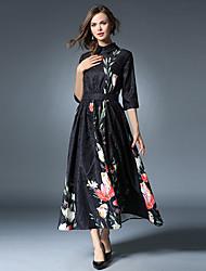 abordables -Mujer Vintage / Chic de Calle / Sofisticado Corte Swing Vestido Retazos Midi Cuello Camisero