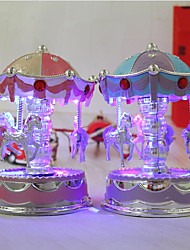 1 PC Flash carousel music box fashion home plastic ornaments exquisite music box gift boutique