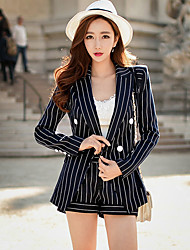 DABUWAWA Women's Going out Casual/Daily Work Vintage Street chic Sophisticated Blazers Striped Shirt Collar Long Sleeve Spring FallHand wash Wash