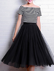 cheap -Women's Work Going out Midi Skirts,Simple Cute Street chic A Line Tulle Solid Spring Summer