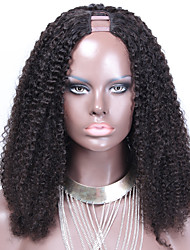 cheap -Human Hair Lace Wig Afro 100% Hand Tied African American Wig Natural Hairline 180% Density Natural Black Short Medium Long