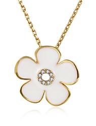 Femme Pendentif de collier Zircon cubique Forme de Fleur Zircon Plaqué argent Plaqué or Plaqué Or Rose AlliageOriginal Pendant Fleur Mode