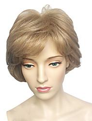 abordables -Femme Perruque Synthétique Court Ondulation profonde Blond Partie latérale Avec Frange Perruque de Cosplay Perruque Halloween Perruque de
