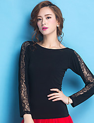 cheap -Ballroom Dance Tops Women's Training Lace Viscose Lace Long Sleeves Natural Top