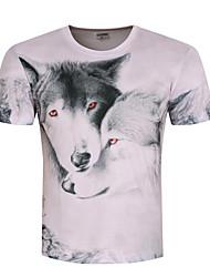 Masculino Camiseta Para Noite Casual Tamanhos Grandes Simples Verão,Estampado Branco Algodão Poliéster Decote Redondo Manga Curta Opaca