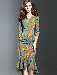 baratos -Feminino Tubinho Vestido, Para Noite Tamanhos Grandes Sensual Estampado Decote V Assimétrico Meia Manga Verde Poliéster Primavera Outono