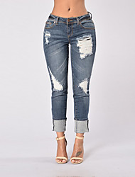 Women's Skinny Jeans Pants All Match Hole Going out Holiday Simple Street chic Solid Ripped Mid Rise Zipper Micro-elastic Spring Fall