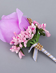 cheap -Elegant Rose Wedding/Party Boutonniere with Rhinestone for the Groomsman and Bridesmaid