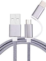 cheap -Micro USB 2.0 / USB 2.0 / Type-C USB Cable Adapter Braided Cable For Samsung / Huawei / LG 100cm Nylon