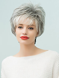 Hair Side Bang Layered Curly Short Human Hair  Ombre Wig