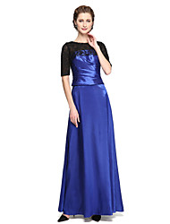 A-Line Jewel Neck Ankle Length Lace Satin Mother of the Bride Dress with Appliques Pleats by LAN TING BRIDE®