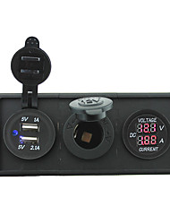 cheap -12V/24V Power charger3.1A USB port and current ampmeter gauge with housing holder panel for car boat truck RV(With current voltmeter)