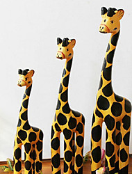 1 Set of (3pcs) Nordic Style Wooden Horse Craft Furnishing Articles Home Decoration Creative Figurines Auspicious Gifts Color Random