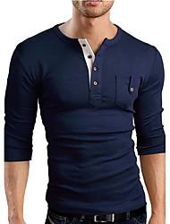 T-shirt Da uomo Casual SempliceTinta unita A V Cotone Blu Rosso Grigio Manica lunga