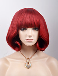 cheap -Synthetic Hair Wigs Straight Capless Natural Wigs Short Red Synthetic Wig