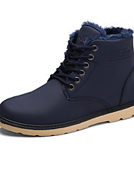 Men's Boots Fall Winter Cowhide Outdoor Flat Heel Black Blue Light Brown