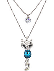 cheap -Women's Rhinestone Imitation Diamond Pendant Necklace - Fashion Double-layer Fox Animal Necklace For Party Daily