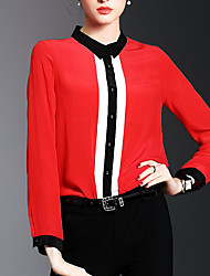 Women's Formal Going out Work Simple Street chic Sophisticated Spring Summer Shirt,Solid Shirt Collar Long Sleeves Acrylic Thin